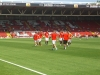 The Rangers team warming up