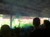 The smoke bomb goes off in the stand